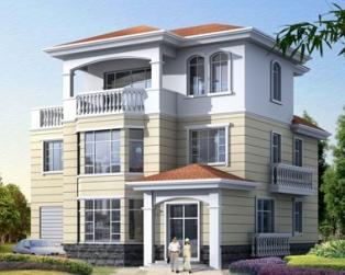 占地120欧式带车库三层现代复式楼中楼别墅设计图纸11米×12米