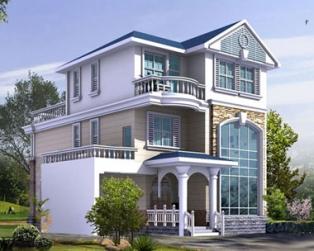 新农村占地130三层带车库复式楼中楼别墅设计图纸12米×14米