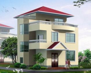 三层现代新农村风格漂亮带露台小别墅图纸效果图9米×8米