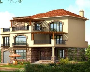 三层豪华复式楼中楼欧陆风格别墅建筑设计图纸16.7米×13.7米