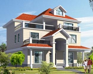 漂亮三层红顶带露台欧式别墅设计施工图纸12m×11m