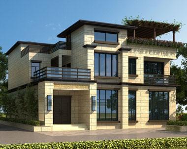 现代中式带内庭院三层别墅设计图纸13mx18.04m