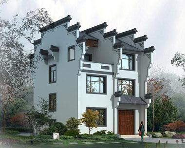 三层中式徽派精致别墅全套设计图纸9.54米x9.74米