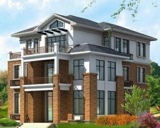 占地130平米三层带阁楼现代风格坡地别墅设计图纸11m×14m