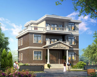 三层农村占地120平米豪华别墅设计全套施工图纸12mx8.9m