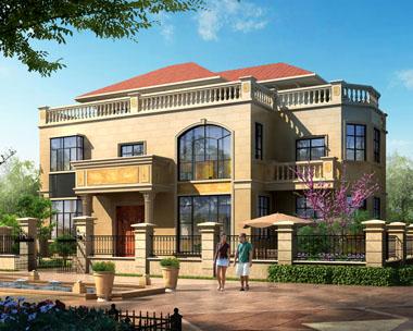 三层带庭院豪华欧式别墅建筑设计全套图纸17.2mx11.2m