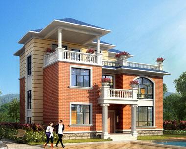 占地130平米三层复式楼中楼带凉亭露台别墅全套建筑设计图纸12.9米x11.5米