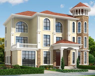 三层带八角窗简欧复式楼中楼别墅施工图纸18.3mx12m