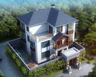 三层现代中式豪华别墅全套设计图纸12米x10米