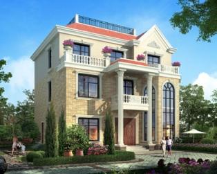 欧式三层带露台豪华石材外墙别墅设计图纸13米×13米