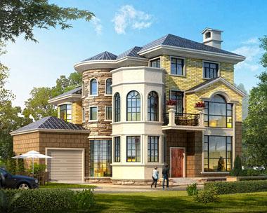 占地140平米三层高端豪华欧式别墅建筑设计图纸14米x12.2米