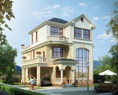 占地120三层欧式简洁大露台别墅全套设计图纸9.9米x13.2米