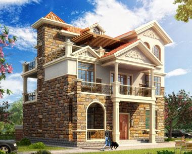 三层带西班牙风格堂屋及隔热层别墅建筑全套设计图纸12米x12.3米