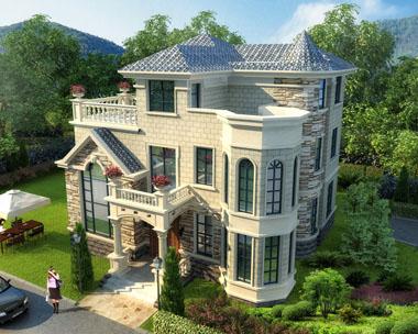 占地120欧式豪华复式楼中楼三层别墅建筑施工图纸(开间12米x10.7米)