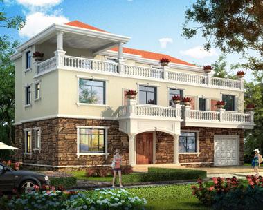 三层简约实用带堂屋新农村别墅设计图纸19mx11m