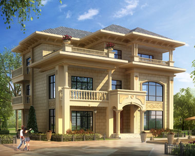 占地150平方米三层豪华大气欧式别墅建筑施工图纸13米x12.5米