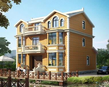 占地140三层带阳台大气欧式别墅设计图纸11.9米x12.3米