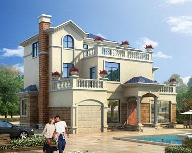 占地160三层带车库新农村别墅建筑设计图纸14.7米x13.9米