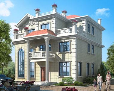 2018新款占地160三层带露台高端漂亮别墅设计施工图纸12.5米x12.2米