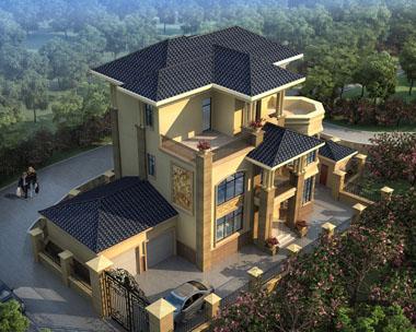 三层双车库豪华欧式别墅建筑设计图纸11.6米x11.2米