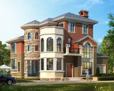 带车库简欧式三层私人2018三层别墅设计图纸14.3米x14.2米