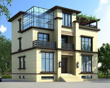 占地120平米三层带地下室新亚洲风格别墅设计图纸12米x10米