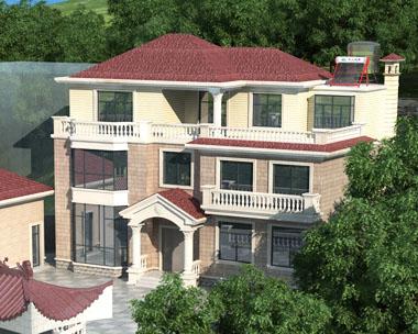 三层带庭院简欧别墅建筑设计图纸15.6mx10.7m