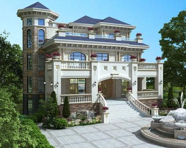 三层豪华别墅设计高端大气复式客厅楼中楼带地下室设计图纸16.1米x18.1米