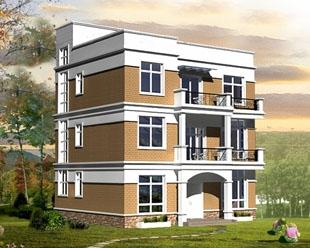 现代风格三层半平顶别墅施工设计图纸12m×12m
