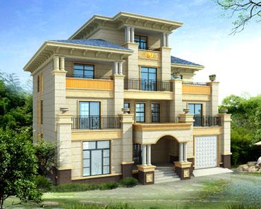 占地200平米四层高端大气欧式别墅建筑设计图纸15.4mx13.9m