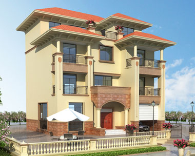 私人四层欧式带车库别墅设计施工图纸13.6mx12.9m