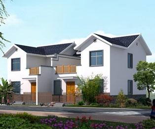 经典中式传统风格农村二层双拼别墅施工图纸15m×9m