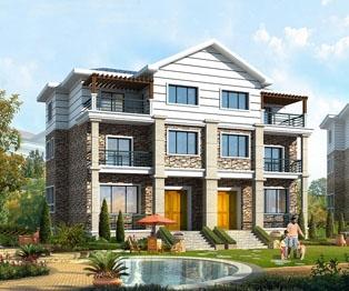三层联体现代别墅新农村住宅设计图纸及效果图18.2mx10.6m