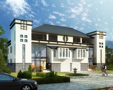 三层中式徽派豪双拼华别墅全套建筑设计图纸25.4mx12.3m