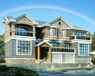 欧式新农村建设二层双拼带车库复式楼中楼别墅设计图纸19.2mx13.5m