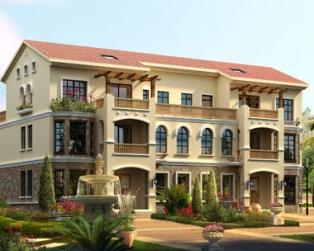 三层西班牙风格豪华双拼别墅建筑施工图纸21m×12m