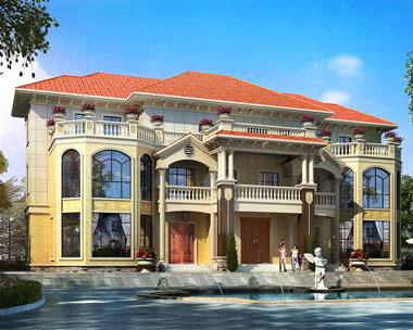 三层豪华带阁楼双拼欧式别墅设计图纸27.4mx18.8m