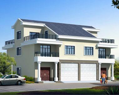 三层简洁双拼带车库别墅建筑设计图纸16.7mx14.4m