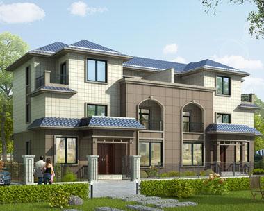简欧三层双拼实用带车库别墅建筑设计图纸22mx10.7m