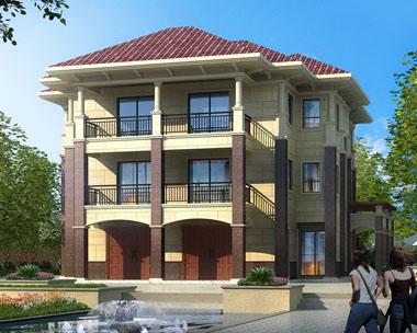 三层带内庭院荷花池兄弟双拼别墅设计图纸18.3mx20m