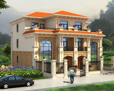 新农村三层豪华漂兄弟双拼复式楼中楼别墅设计图纸16mx14.2m