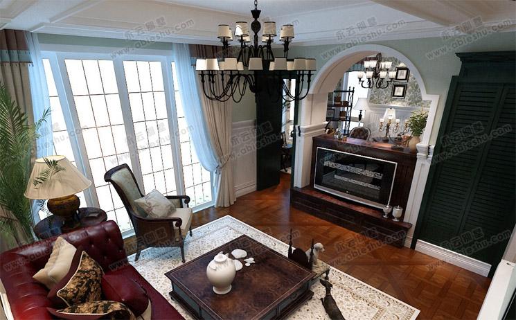 现代别墅欧式室内客厅装修效果图
