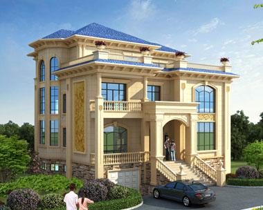 欧式建筑AT1726三层豪华带架空层车库别墅设计施工图纸