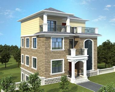 新农村自建房AT1713三层简洁坡地架空别墅设计施工图纸