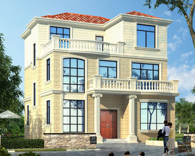 现代简洁房屋AT1723简洁农村自建房三层别墅施工图纸