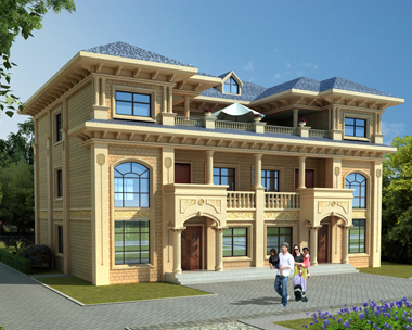 兄弟双拼三层联体简欧共露台别墅建筑设计图纸17.7mx12.1m