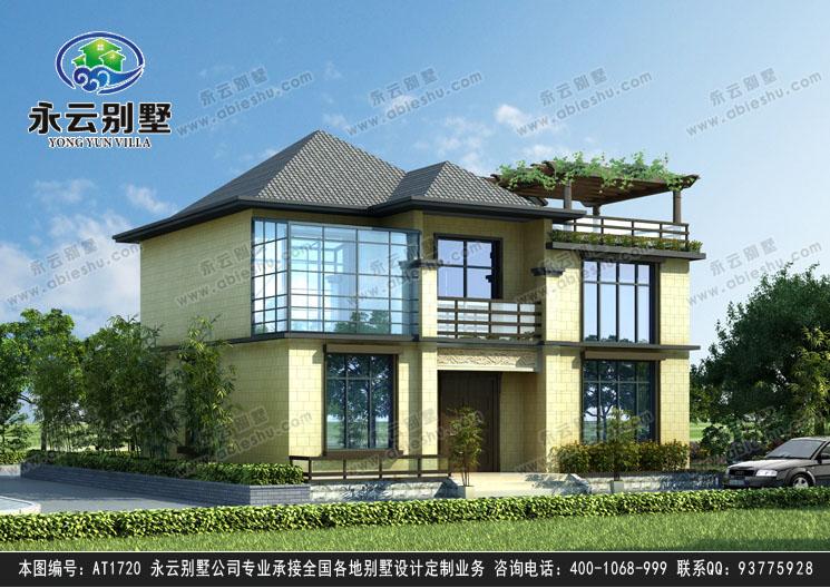 现代二层简洁亚洲风格别墅设计效果图