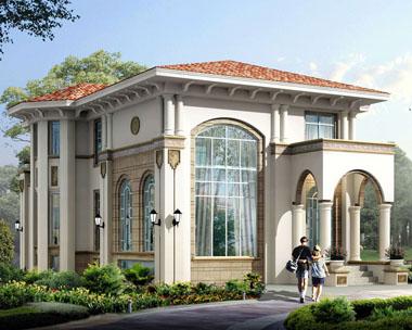 二层带地下室欧式风格私人豪华别墅外观效果图