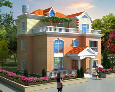 自建实用大方三层别墅建筑设计效果图