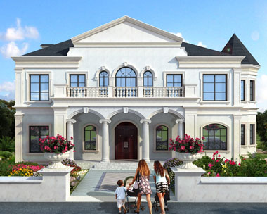 二层豪华别墅设计图法式风情复式楼中楼别墅建筑设计图纸19.4mx11.8m